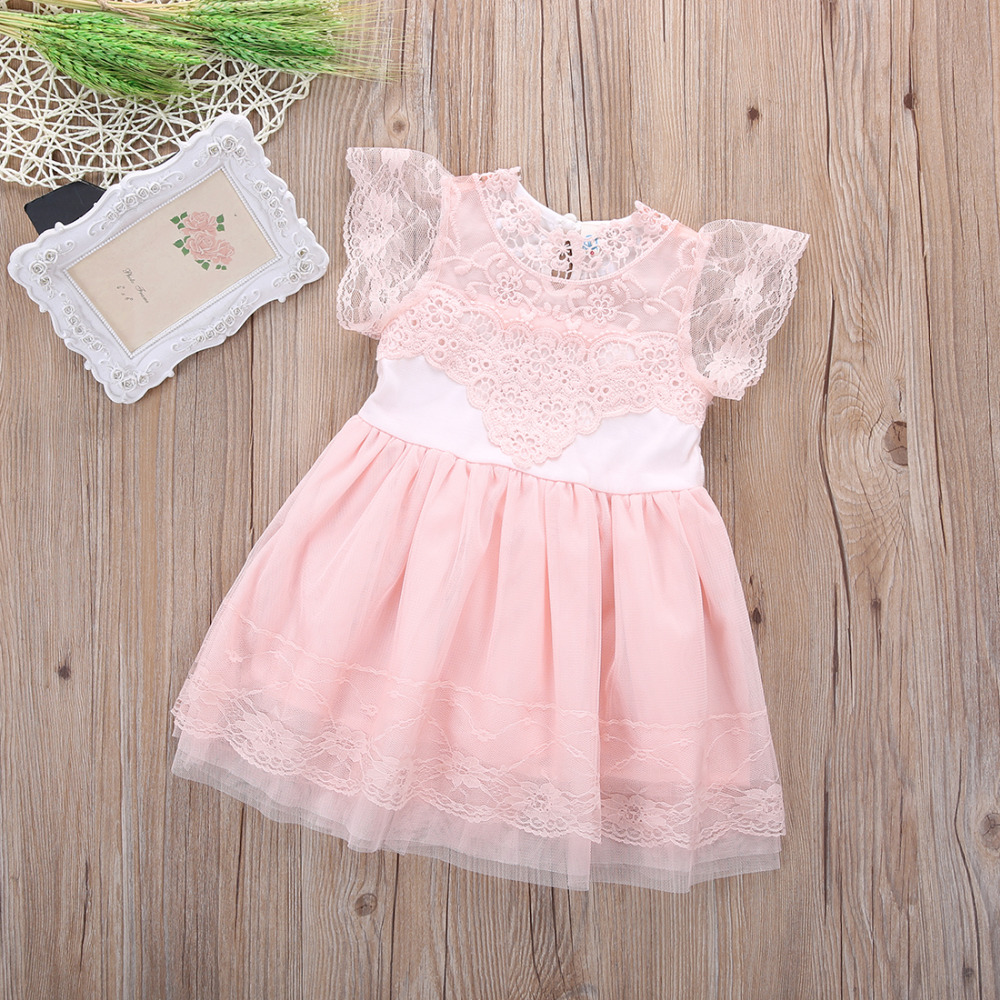 0a82a107efe8c 2017 New Fashon Chiffon Toddler Baby Girls Party Dress Pearl Pink ...