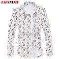 LONMMY Mens long sleeve silk cotton shirts Fashion Polka dot High quality mens dress shirts slim fit Casual New 2016 M-5XL