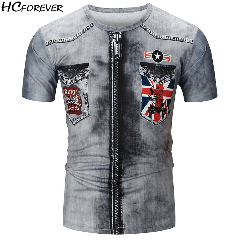 2018 Summer T Shirt Men 3D Print Motorcycle Short Sleeve Streerwear T-shirts Casual Punk Tops Clothes Mens Fashion Grey Sale