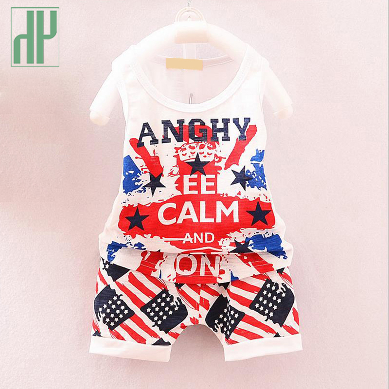 Baby boy clothes american flag printing new baby girl 2pcs sleeveless outfits set summer knitted baby clothes outfit 4th of july