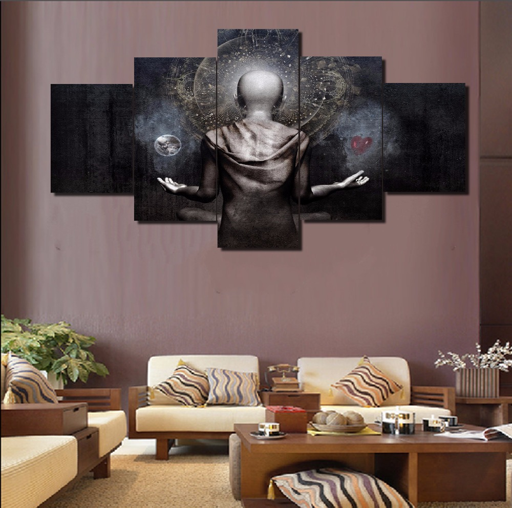 Hd Printed Painting 5 Piece Canvas Art Buddha Cuadros Decoracion Paintings On Canvas Wall Art For