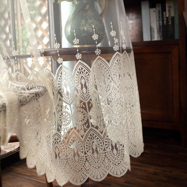 Latte di Seta Personalizzato Beige Ricamo Complementi Arredo per le finestre Tulle Per Soggiorno Tende Camera Per La Bedoom Bay Finestra Pannelli Trasparenti P022-40