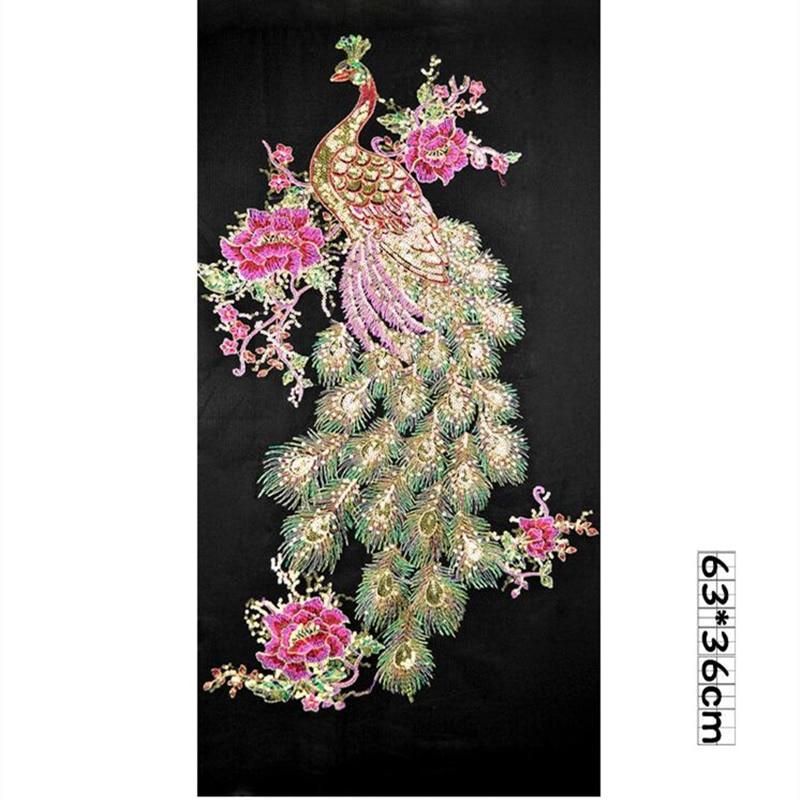 DIY Bunga Merak Sequin Bordir Patch Untuk Pakaian Applique Bordir - Seni, kerajinan dan menjahit