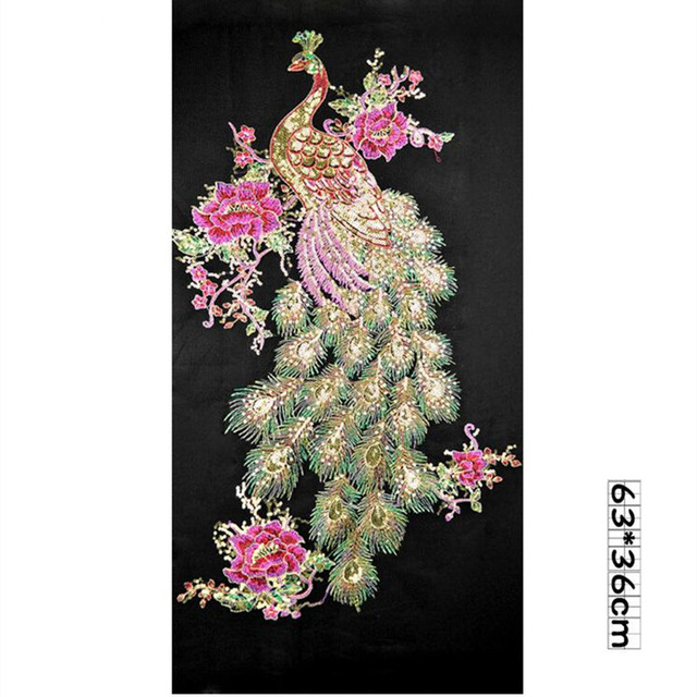 0a100f1b165ee US $2.39 24% OFF|DIY Peacock Flower Sequins Embroidered Patches For Clothes  Applique Embroidery Flower Wedding Dress Sewing Trim Garment Decor-in ...