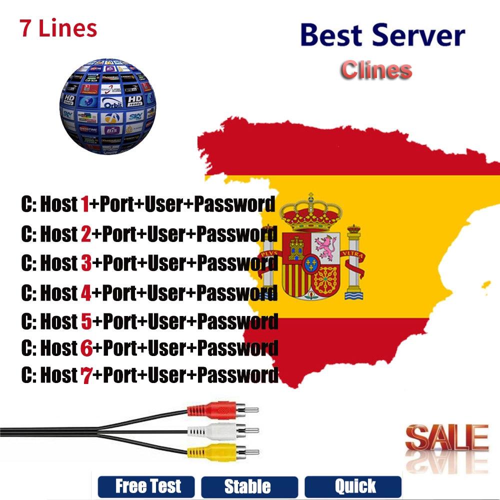 Europe 7 Lines Cccam Cline For 1 Year Europe Spain/Germany For DVB-S2 V8  Super,V7 HD,V7S,IPS2,IKS Receptor Satellite Receiver
