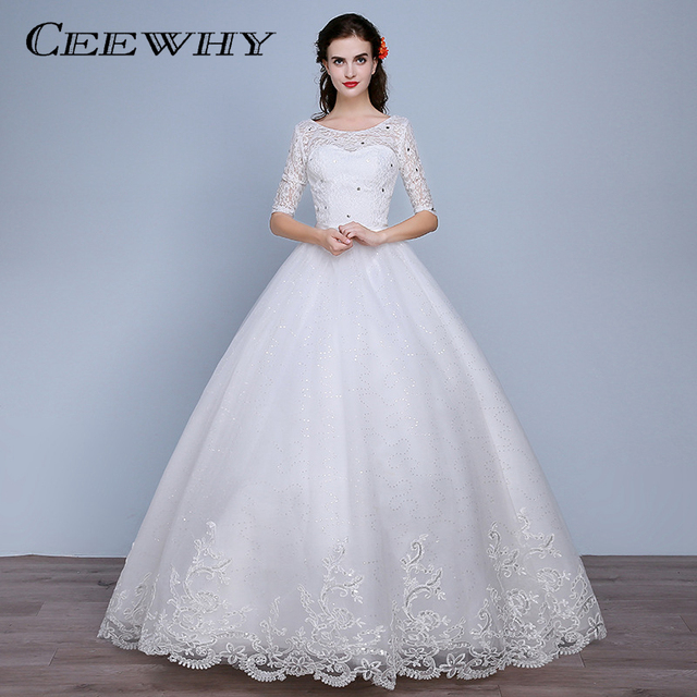 144927acc01 CEEWHY Sexy Backless O-Neck Half Sleeve Lace Wedding Dresses Women Floor  Length White Ball Gown Bridal Gowns Vestidos de Novia