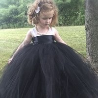 Princess Tutu Pageant Flower Girl Tutu Dress Black White Wedding Dress Baby Kids Fancy Dress Birthday