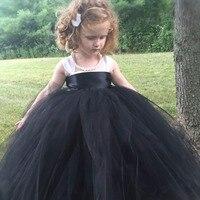 Princess Tutu Pageant Flower Girl Tutu Dress Black White Wedding Dress Baby Kids Fancy Dress Birthday