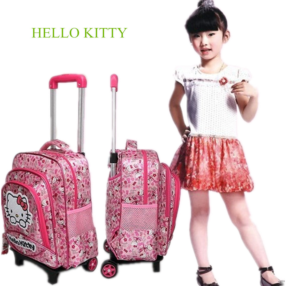 962fd7b0bb Kids Removable Trolley Hello Kitty School Bags With Wheels Girls Cute Kitty  Rolling School Bags Child Cartoon Wheeled Backpacks