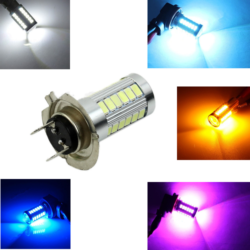 H7 PX26D White Ice Blue Red Amber Yellow Purple 5630 33 SMD 33LED Auto Car Fog Daytime Driving Light Lamp Low Beam Bulbs 24V car cob led h7 bulb fog light parking lamp bulbs driving foglight 7 5w drl 2pcs amber yellow white red ice blue