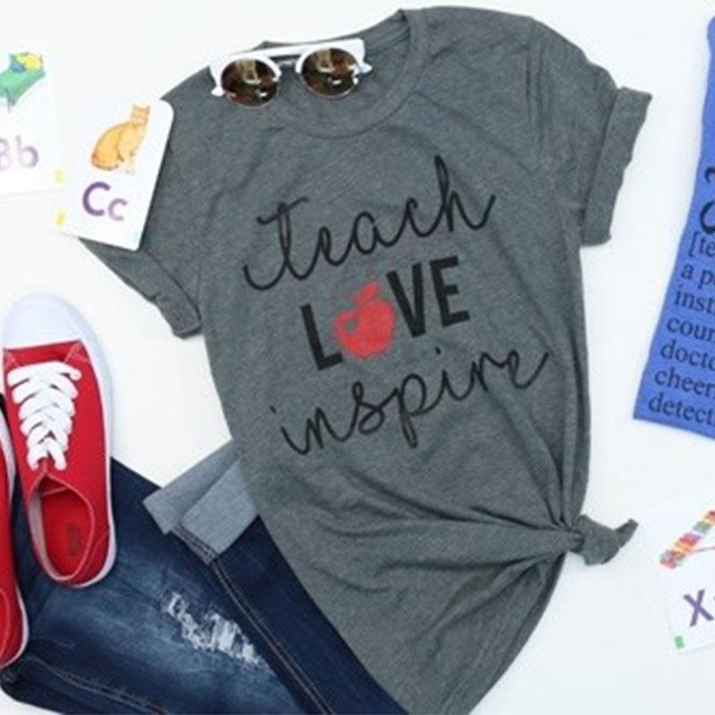 Dames T-shirts Korte mouw Losvallend O-hals Teach Love Inspire appel Print Zomer Top Casual grijs Dames T-shirt Dames Tops Tee