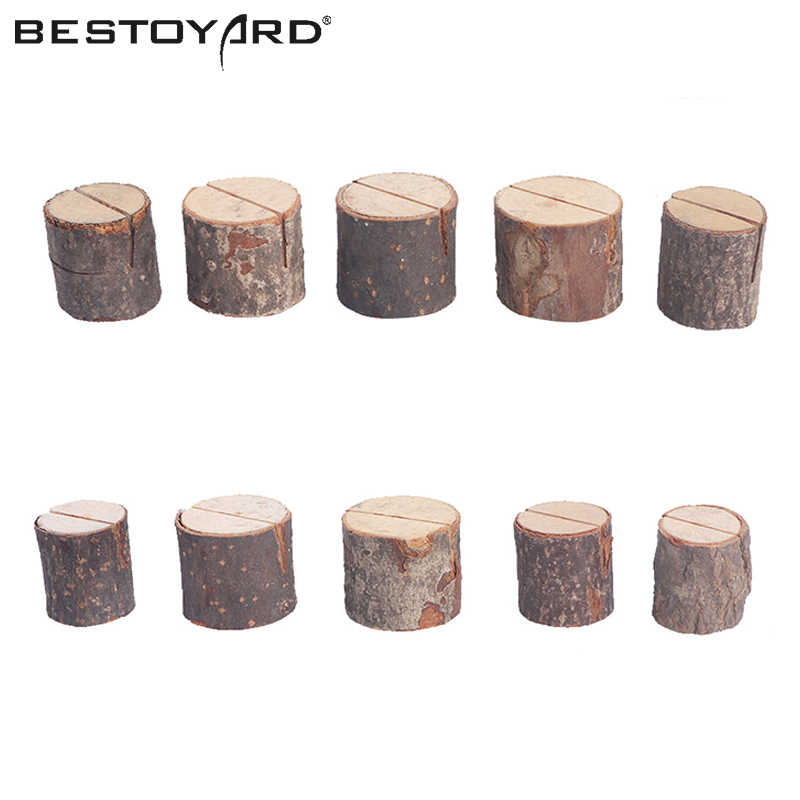BESTOYARD 10 PCs Wooden Stump Shape Wedding Party Place Card Holder Stand Number Table Menu Picture Photo Clip Card Holder