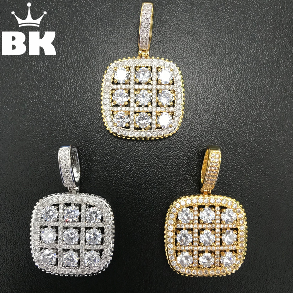 Luxury AAA Cubic Zirconia Square Medallion Pendant Full Micro Paved CZ Big Shiny Rainbow Charm Neckalce Gold Silver Rose Gold