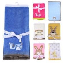 76*102cm Super Soft Polyster Baby Blanket Infant Crib Bedding Cartoon Monkey Rabbit Bear Blanket Newborn Gift For Boy Girl