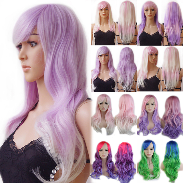 Rainbow Women Ladies New Long Curly Wavy Synthetic Wig Heat Resistant Cosplay Party Anime Fancy Dress Cheap
