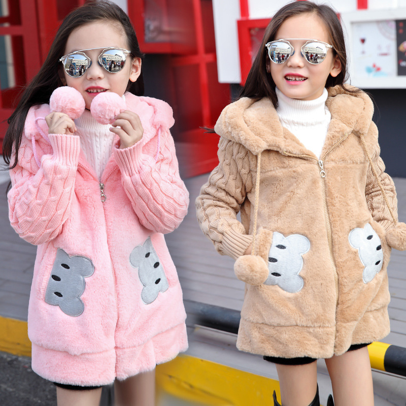Winter Girls Faux Fur Fleece Coat Warm Jacket Lovely Little Bear Clothing Xmas Plush Outerwear Childrens Parka Clothes