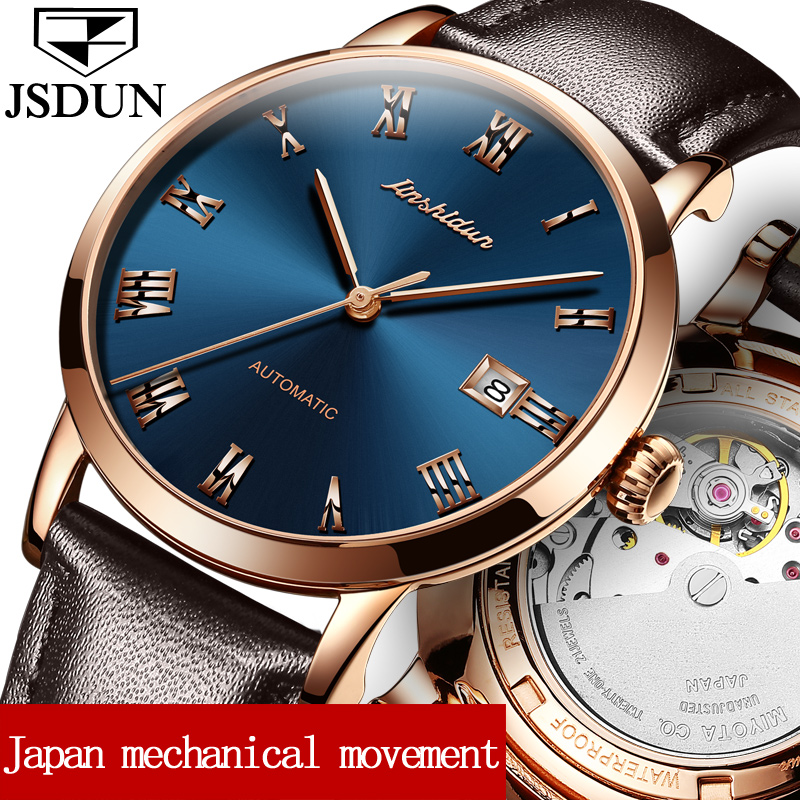 JSDUN Dress Men Mechanical Watches Business Leather Strap Male Clock Auto Date Gold Roman Dial Automatic Wristwatches Gift 8809P forsining brand automatic mechanical formal clock tachymeter auto date dial rose gold watch leather men dress wrist watches gift