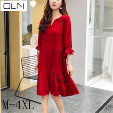 Dress large size  OLNNew retro female loose thin fat MM pregnant red dress M-4XL