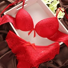 Women Sexy Solid Bra Lace Bra&Panty Set Cotton Embroidery Underwear Lingerie Sets Corset Underpants Women Nipple Cover(China)