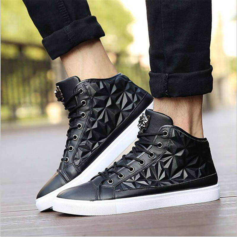 New Fashion High Top Casual Shoes For Men PU Leather Lace Up flats Loafers shoes spring autumn Men breathable Shoes new 2017 high quality men pu leather flats lace up fashion casual sport jogging flat shoes loafers soft light male footwear