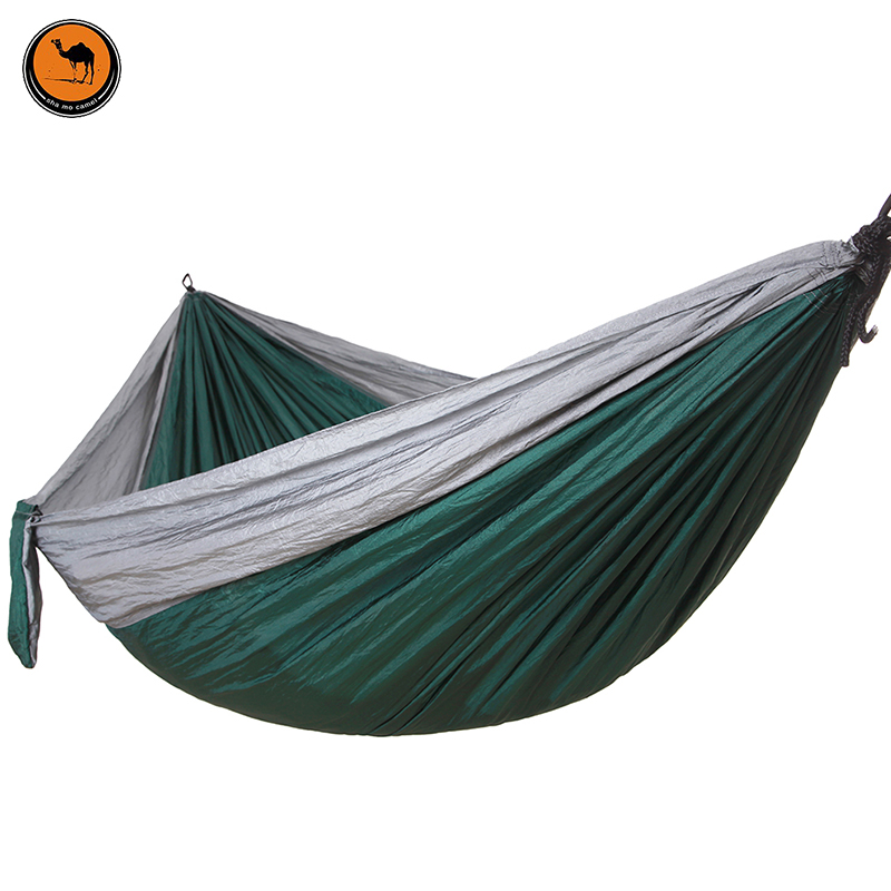 Camping Hammock, Portable Parachute Nylon Fabric Travel Ultralight Camping Double Wide Outdoor Travel(Gray+Dark green)