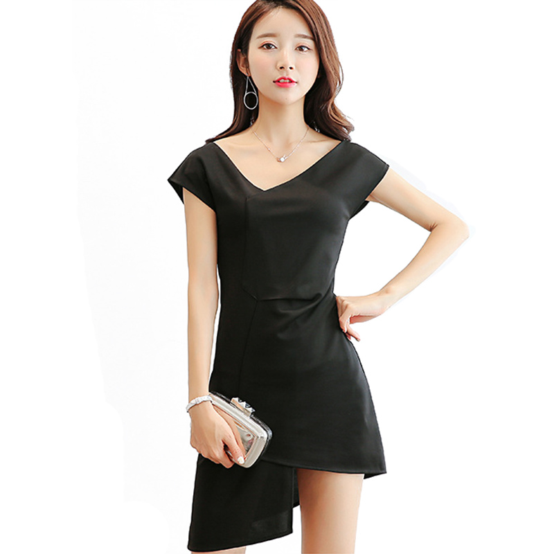 Sexy Women Irregular V-neck Bodycon Patchwork Dresses Party Short Sleeve Solid Color Female Slim Mini Dress For Spring Summer