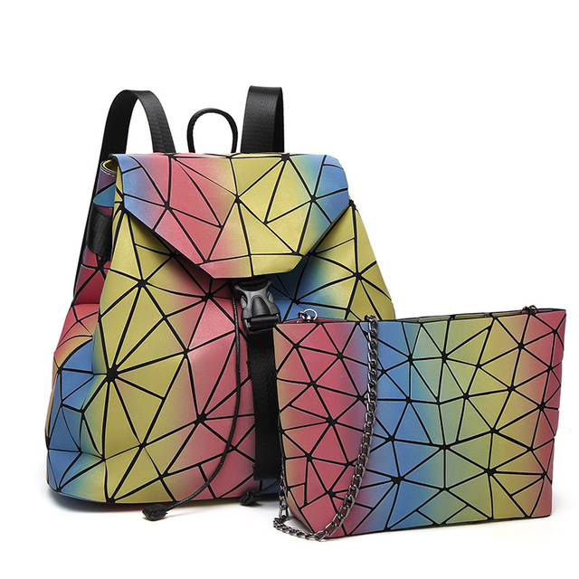 01d1a21f6ab7 2018 Hot Sale Rainbow Backpack New Women Backpack Geometric Lattice Laser  Bag Fashion Noctilucent Shoulder Bags