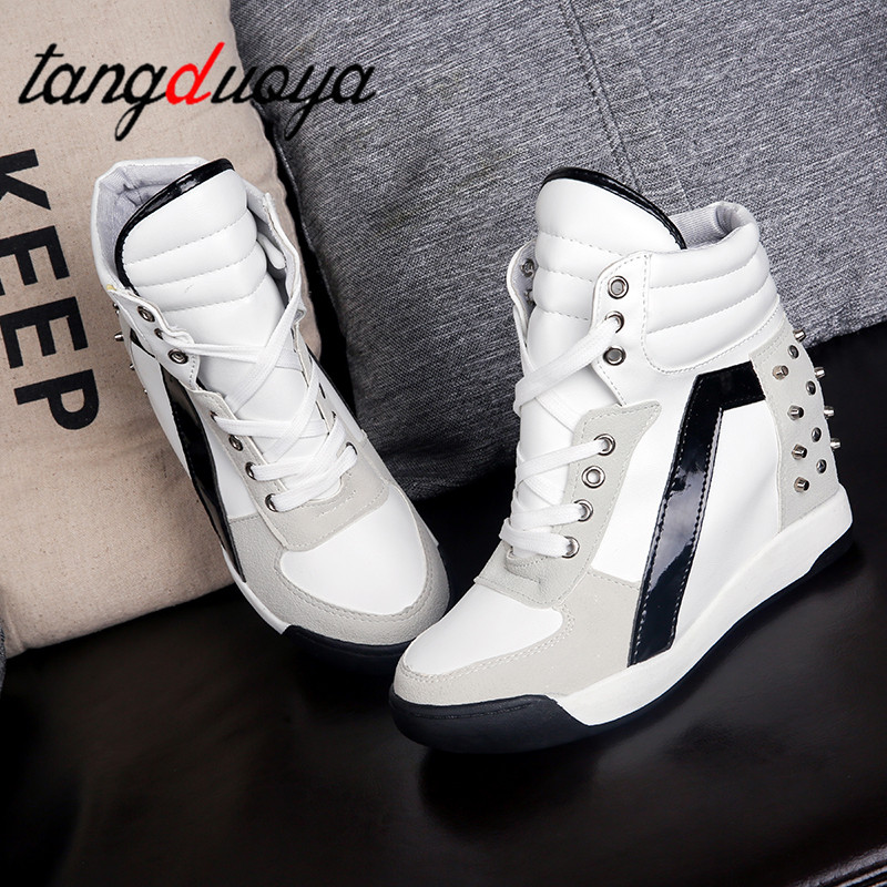 Hot Sales Rivets Black White Hidden Wedge Heels Casual Shoes Tenis Feminino High Top Shoes Trainers Women Zapatos Mujer 2019