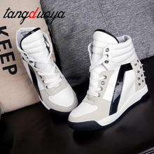 Hot Sales Rivets Black White Hidden Wedge Heels Casual Shoes