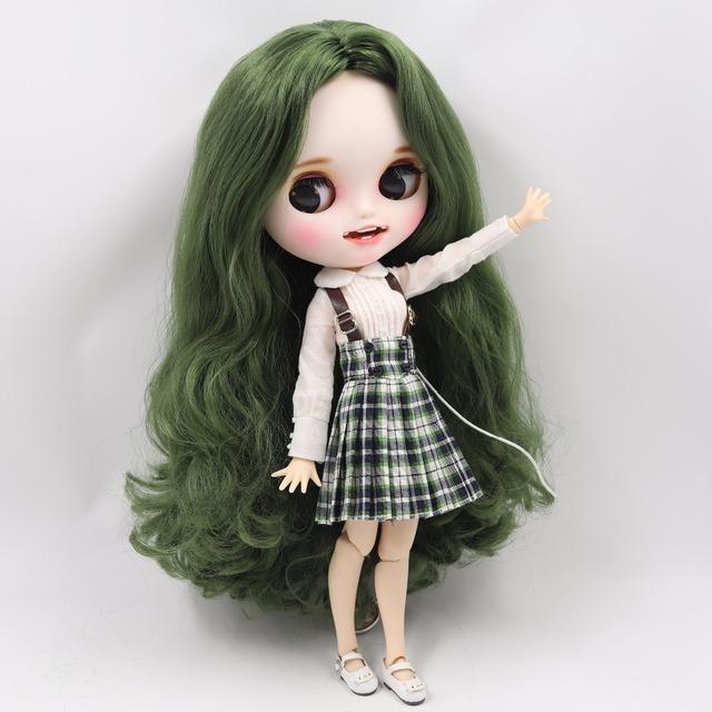 ICY Neo Blythe Doll Yaşıl Saçlar Birləşdirilmiş Bədən 30cm