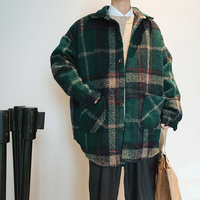 2018 new autumn and winter students retro loose plaid woolen coat windbreaker jacket male tide red / green size M 2XL