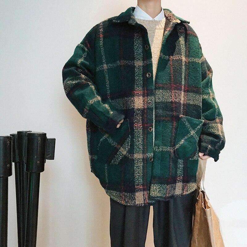 2018 nouveau automne et hiver étudiants rétro lâche plaid de laine manteau coupe-vent veste mâle marée rouge/vert taille M-2XL