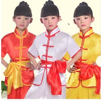 цена (0102) Children's Martial arts performance costumes girls and boys Kung Fu Long Sleeve taiji folk dance clothing онлайн в 2017 году