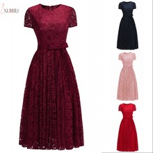 2019 Burgundy Pink Navy Blue Lace Short Bridesmaid Dresses A line Wedding Party Guest Gown robe demoiselle d'honneur цены