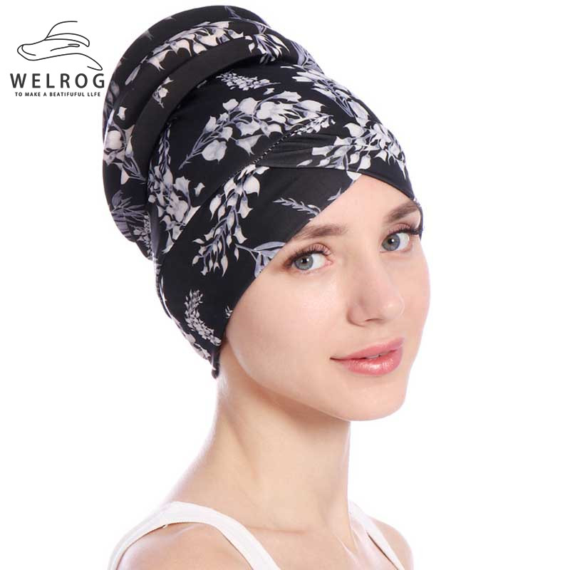 WELROG Women Turban Hat Muslims Floral   Beanie   Chemo Bonnet Hats for Ladies Flower Head Scarf Wrap Cap Women's   Skullies     Beanies