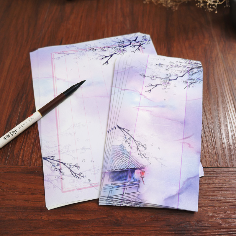 8pcs 11x22cm Cute Chinese Style Vintage Paper Envelopes and Letter Set Calligraphy Fountain Pen Writing Paper