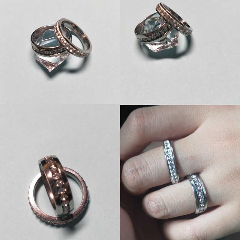 Letdiffery, прозрачный кристалл, Свадебное женское кольцо, набор, серебро, нержавеющая сталь, 1 ряд, блестящие стразы, модные парные кольца, Женские Ювелирные изделия