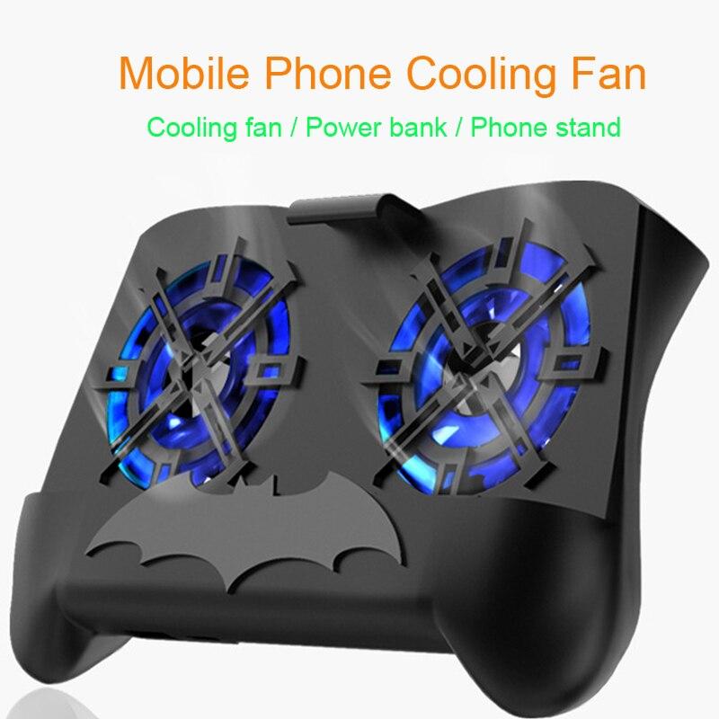 משחק Pad טלפון נייד Cooler קירור מאוורר Gamepad מחזיק מעמד 2500 mah כוח בנק LED רדיאטור מאוורר השתקה 4 -7 inch Smartphone