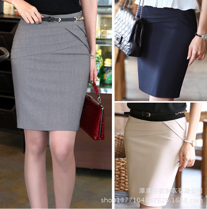 Aliexpress.com : Buy Women Business Knee Length Skirts Solid Daily ...