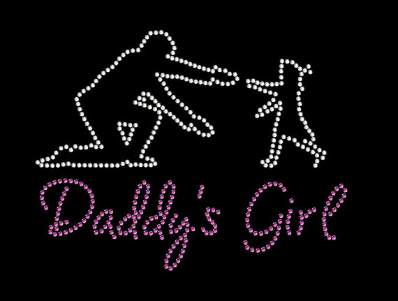 2pclot Daddys Girl Rhinestone Transfer Shiny Applique Patches