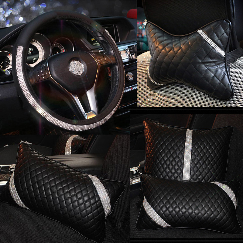 Fashion Diamond Crystal Car Accessories for Women Styling Leather Auto Steering Wheel Cover Neck