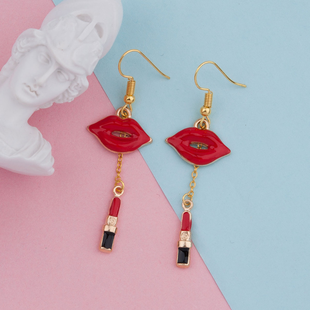 Doreenbeads Makeup Earrings Lipstick 19mm Gold-Color Post/Wire 60mm 2-3/8-1-Pair Red