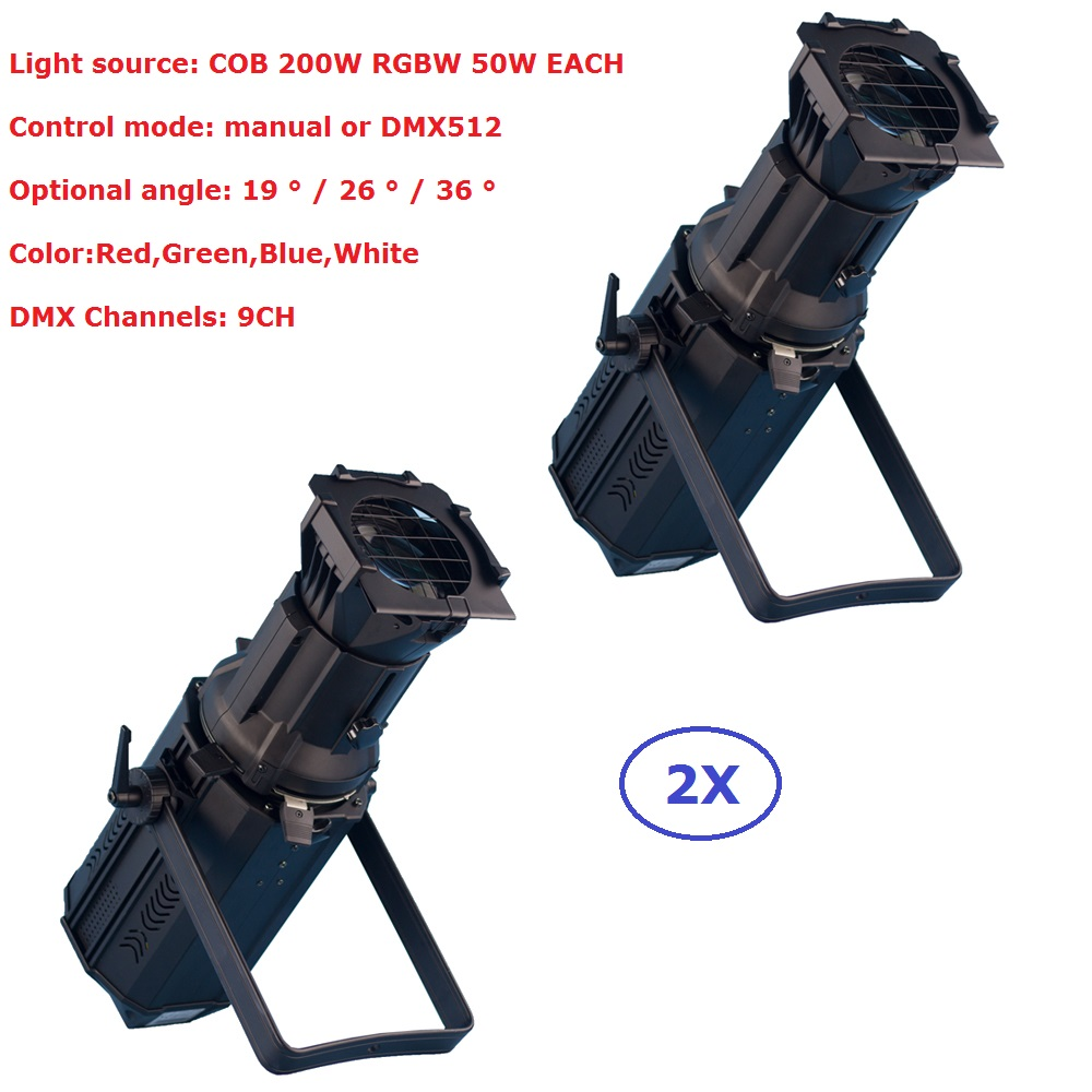 TOPBrite COB 200W Professional LED Stage Lights Aluminum Housing RGBW 4IN1 DMX Profile Spot Lights 110-230V For Large Concerts freeshipping tiptop 200w led profile spot rgbw 4in1 stage wash effect cast aluminum gobo frame spring clip safety zoom tp 007