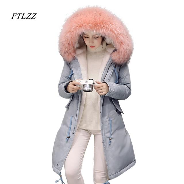 FTLZZ 2017 새로운 겨울 여성 재킷 큰 모피 칼라 후드 파카 코튼 오리 다운 따뜻한 코트 자수 코트 Snowoutwear