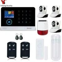 Yobang безопасности сенсорной клавиатурой приложение Управление 433 мГц Главная охранной открытый мерцающий сирена HD IP Камера Wi Fi/GSM /GPRS/SMS сигна