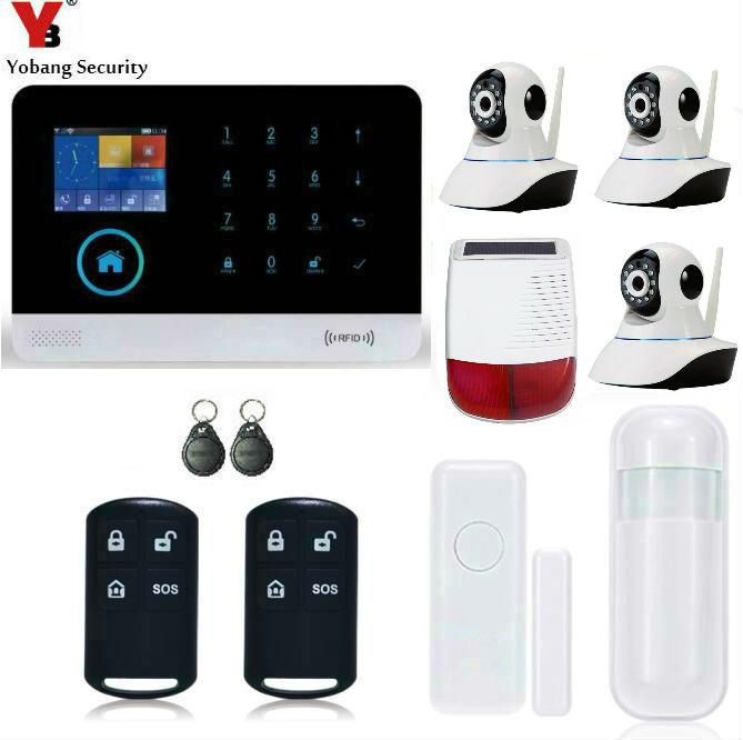 Yobang Security-Touch Keypad APP Control 433MHz Home Burglar Outdoor Strobe Siren HD IP Camera Wifi/GSM/GPRS/SMS Alarm System 3d пазл expetro снежный баран 10705