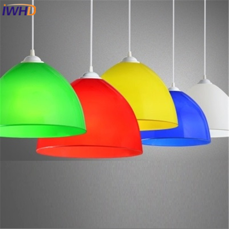 Nordic Modern Acrylic Pendant Lights For Dining Room Led Hanging Lamp Fashion Colorful Lampshade Bedroom Light Fixtures E27