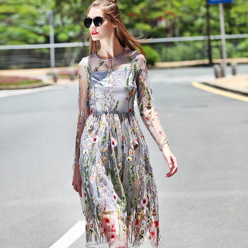casual summer dresses women 2019 floral embroidery see through grey mesh dress  women outfits long sleeve a line sexy midi dress dec56493f