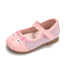 COZULMA Spring Kids Casual Leather Shoes for Girls Cute Cat Mary Jane Dress Soft Bottom Flats Children