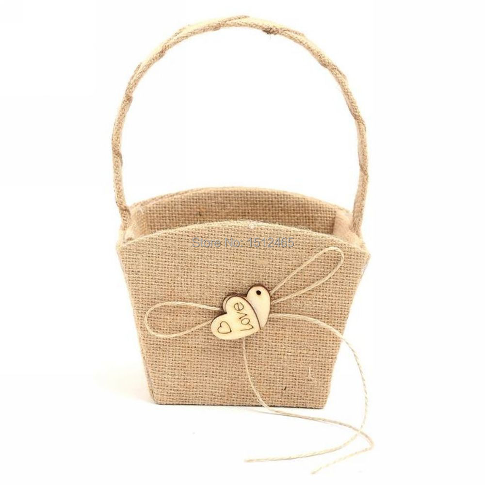 Burlap hessian with wooden love heart flower girl basket vintage n56g izmirmasajfo